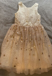 Childrens / Girls Party Dress Age 7-8 Years, White Cream And Gold