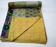 Indian Handmade Queen Cotton Kantha Quilt Throw Blanket Bedspread Patchwork Thro