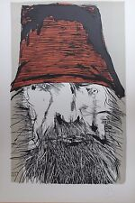 Leonard Baskin Original Lithograph Hand Initialed Ahab With Red Hat 1970's
