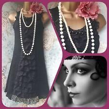 black yumi vtg 20s lace ruffle bead deco gatsby flapper party dress 12 40
