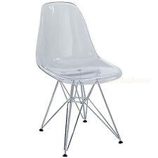 Clear Acrylic Ghost Eiffel Paris Pyramid Dining Side Chair Modern Transparent