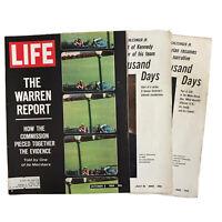 Lot 3 Life Magazines 1964 1965 John F Kennedy JFK 1000 Days & The Warren Report