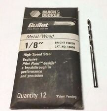"12 PCS. 1/8"" BLACK & DECKER BULLET DRILL BITS - PILOT POINT- HS - BRIGHT FINISH"