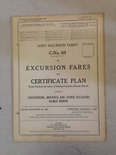 1926 Joint Excursion Railroad Tariff C-No.80 Excursion Fares on Certificate Plan