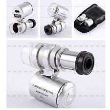 Hot Sale Mini 60X Pocket Microscope Jewelry Magnifier Loupe Glass LED UV Light