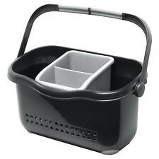 Addis Sink Caddy Organiser Spongr Holder Cutlery Drainer with Handle, Black/Grey
