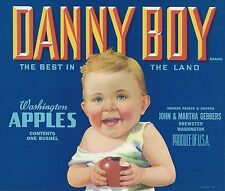 "RARE OLD 1940 BABY WITH APPLE ""DANNY BOY"" APPLE LABEL ART BREWSTER WASHINGTON"