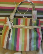 NWT COACH Poppy Legacy Stripe Glam Tote 19021 Multi-Color FREE SHIPPING