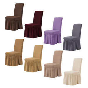 Dining Room Chair Cover Spandex Stretchy Chair Slipcover with Ruffled Long Skirt