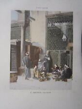 Gravure 19° L. Deutsch La leçon ( école musulmane Arabe mosquée )
