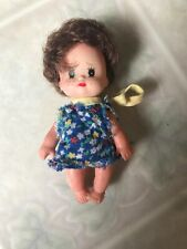 "Vintage small 3.5"" doll hard plastic Calico dress Eyelashes and Freckles"