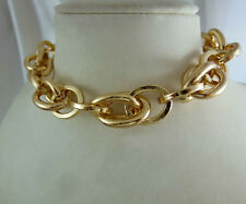 18k 18ct Gold GF Solid Chain Link Choker Necklace 18k gf
