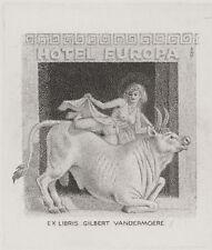 Europa Stier Exlibris Mark Severin / Vandermoere Bull Erotic Signed Engraving C2