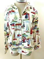 Christopher Banks full zip jacket size M hoodie blue red sailboats long sleeve