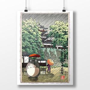 Totoro in the Rain Print, Totoro Poster, Studio Ghibli Gift, Totoro Art