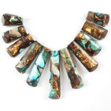 11pcs/Set Blue Sea Sediment Jasper Gold Copper Bornite stone Pendant Bead JC046