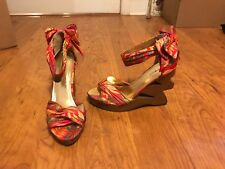 Bamboo Funky-01 Floral Peep Toe Wedge Zig Zag Heels Floral Open Toe Size 7.5
