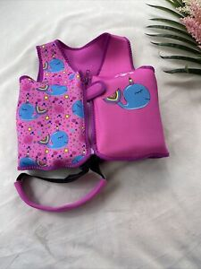 Lifeguard Kid's Swimming Safety Vest 20 inch 20-33 Lbs Neoprene Pink Whales