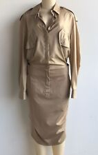 NWOT $1150.00 Max Mara Italy Silk Top Cotton Stretch Bottom Shirt Dress Sz 12