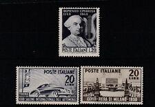FRANCOBOLLI 1949/50 REPUBBLICA CIMA ROSA + MILANO + TORINO L.20X3 MNH Z/7043