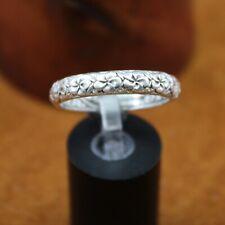 "SARDA Bali ""Frangipani Plumeria Flower"" 5mm Band Ring Sterling Silver Size 12"