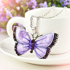 Women Retro Fashion Purple Butterfly Crystal  Pendant Necklace Vintage Jewelry