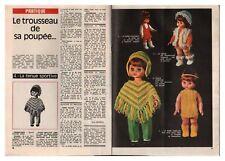1970 DOCUMENT (ref LEP 4589) POUPée VETEMENTS PATRON  2pages