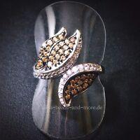 Padparadscha Quarz Weißtopas Cluster Designer Ring 925 Silber rhodiniert 17,5 mm