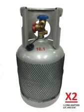 """2 X EMPTY RECLAIM RECOVERY CYLINDER BOTTLE GAS TANK + 1/4"""" & 5/16"""" ADAPTORS"""