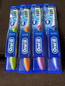 4 X Oral-B  Pulsar Vibrating Toothbrush medium Bristles - mixed colours