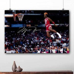 Michael Jordan Dunk Poster Signed Basketball Last Shot Bulls NBA Star Wall Art