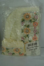 Vintage Embroidered Floral Satin 3 Piece Toilet Cover Set