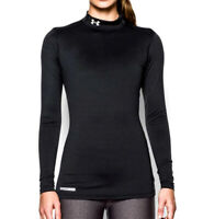 Under Armour UA Women's ColdGear® Authentic Black Mock Neck Fitted Shirt