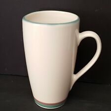 Pfaltzgraff Juniper Latte Mug Tall 6.25 inch Green Mauve Purple Bands USA Excel