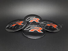 SET 4x56mm FR Seat Wheel Alloy Center 3D Shaped Stickers Leon Ibiza Toledo FR