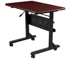 Flipper Training Table, Rectangular, 36w x 24d x 29-1/2h, Mahogany/Black