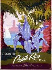 TRAVEL PUERTO RICO USA TROPICAL PLANT VINTAGE RETRO ADVERTISING POSTER 2233PY