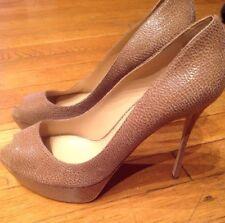 SERGIO ROSSI $990 peep toe platform pumps textured leather Sz 40/10 NWOB