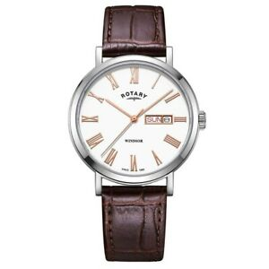 Rotary Windsor Mens Watch GS05300/29 leather day/date RRP £105.00
