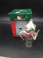 Kurt Adler Glass Tall Teapot 4in Christmas Tree Ornament