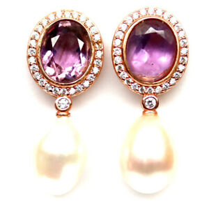 NATURAL OVAL PURPLE AMETHYST WHITE PEARL & CZ EARRINGS 925 SILVER STERLING