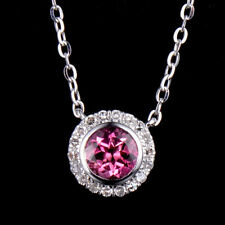 Natural Round Pink Tourmaline Diamond Pendant Necklace Chain 14K White Gold Gift