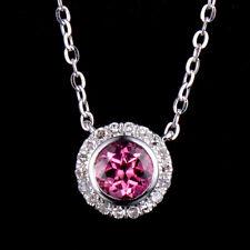 Natural Round Pink Tourmaline Diamond Lady Pendant Necklace Chain 14K White Gold