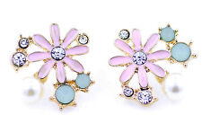 Gold and pink daisy flower with crystal and pearl stud earrings
