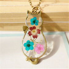 Women Cute Cat Shaped Dried Flower Locket Pendant Necklace  Long Chain Jewelry