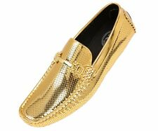 Amali Mens Gold Perforated Patent Driving Moccasin Loafer Shoe: Style Rila-035