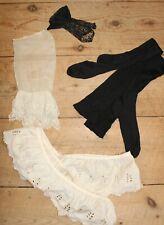 Lot of Antique Victorian Dress Trim Socks Glove Petticoat Eyelet Lace