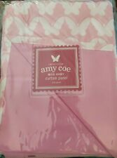 Limited Edition Amy Coe Mod Baby Curtain Panels Pink Lined Butterfly White 44 X
