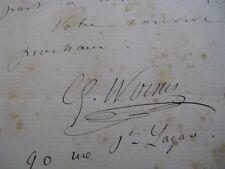 GUSTAVE WORMS Autographe Signé 1878 ACTEUR COMEDIE-FRANCAISE Sur COQUELIN Cadet