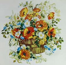 Summer Bouquet Vintage Crewel Kit Colorful Basket of Flowers Linen Fabric